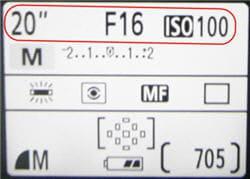 vitesse : 20 secondes de temps de pose, ouverture:f/16 (très petite