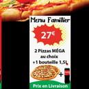 Plat : AlanPizza  - menu familial et DUO: Deux pizzas MEGA ou SENIOR plus une bouteile de 1,5 litre -   © AlanPizza