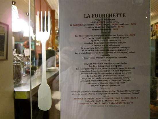 La Fourchette  - Notre menu -
