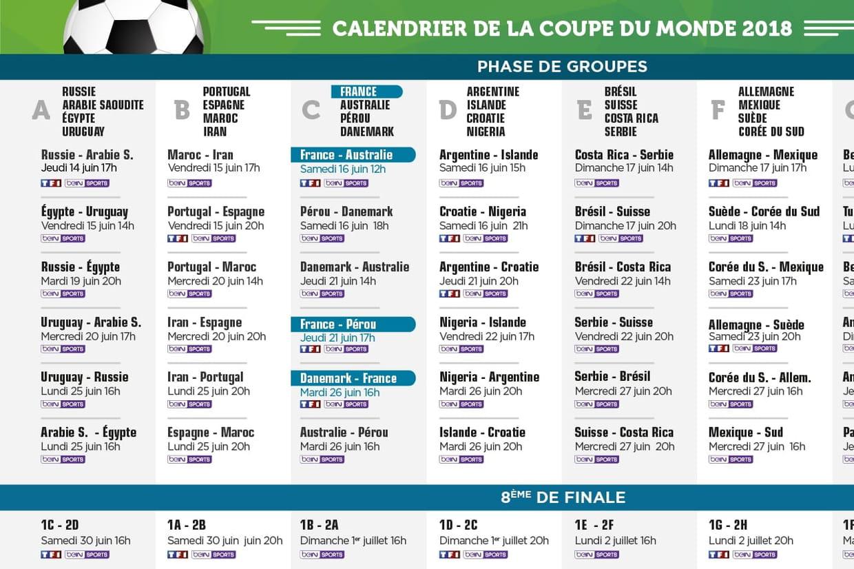 Calendrier coupe du monde le programme du jour et de - Calendrier match france coupe du monde ...