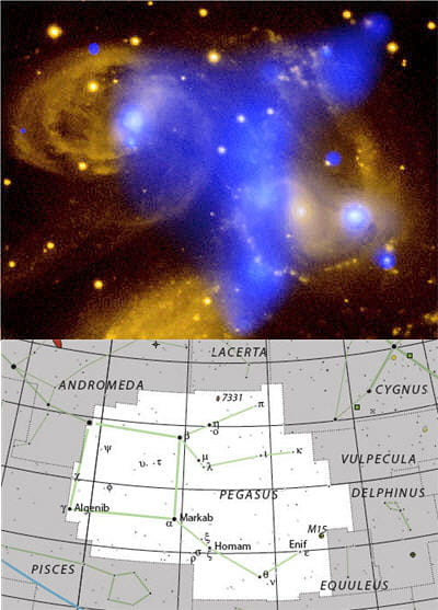 au-dessus : photo du quintette de stephan, groupe de galaxies situé dans la