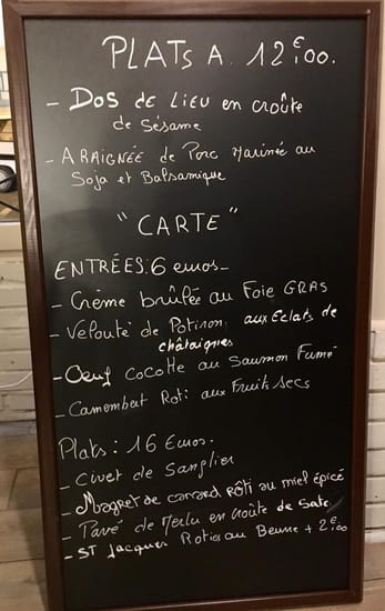 Restaurant : Bouchons & Resto  - Exemple de carte du moment -   © Bouchons&Resto