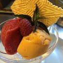 Dessert : Le Tréseaur  - Sorbet abricot framboise bricelet  -