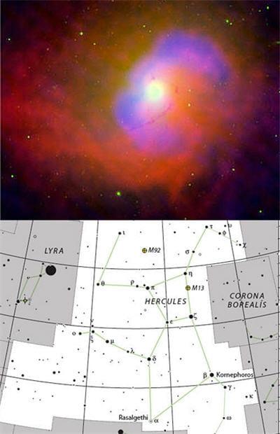 au-dessus : trou noir ngc 4696 de la constellation d'hercule. en-dessous :