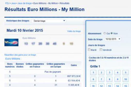 Euromillions: les résultat dutirage duvendredi13février 2015 [EN LIGNE]