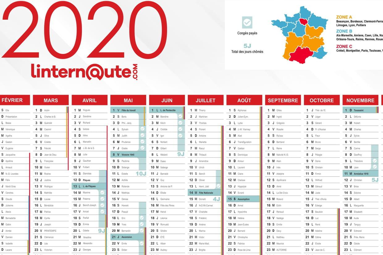 Calendrier 2020 Et 2020 Avec Vacances Scolaires.Jours Feries 2020 Dates Et Calendrier Quels Jours Poser
