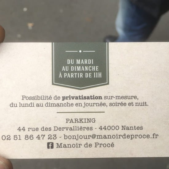 Restaurant : Manoir de Procé
