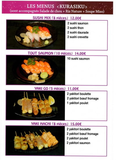 Kinoko Sushi  - Menu page 2 -