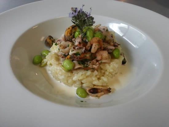 Restaurant : Restaurant le M  - Risotto aux fruits de mer et feves de soja -