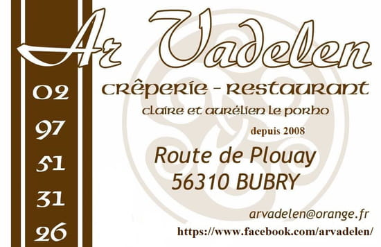 Restaurant : Ar Vadelen  - carte de visite -   © LE PORHO