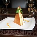 Restaurant le Safran Trets  - Pyramide de duo de mousses mangue et chocolat blanc -   © M. TAUPINARD (MEVIM)
