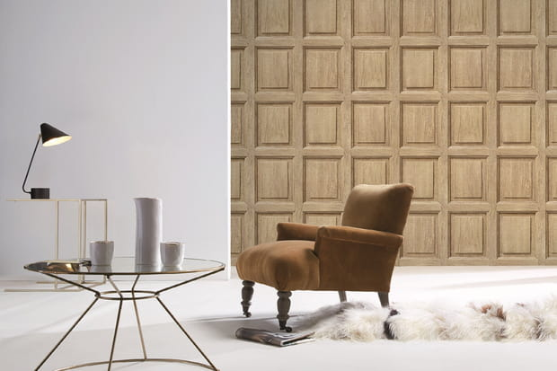 un papier peint effet boiserie. Black Bedroom Furniture Sets. Home Design Ideas