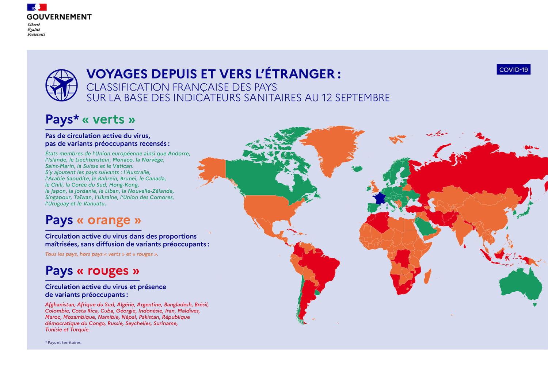 Voyage et Covid: la France place les Etats-Unis et Israël sur la liste orange, nouvelle carte et infos