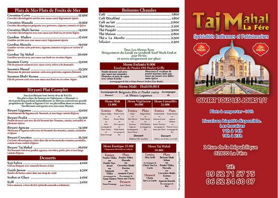 Bar Restaurant Taj Mahal   © Carte