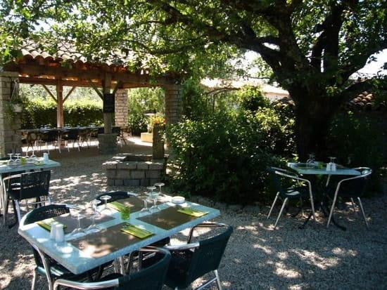 La Table des Oliviers  - grande terrasse sous le vieux chêne -   © terrasse ombragée et arboré