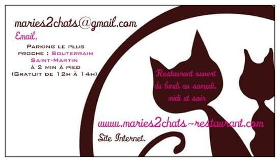 Mariés, 2 Chats  - Carte de visite verso -   © Restaurant