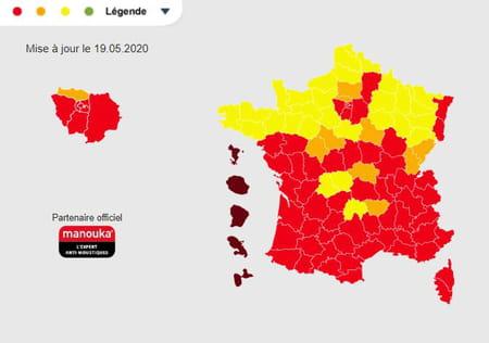 Carte présence du moustique tigre en France