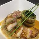 Plat : Postcards Restaurant  - Magret de canard à la rubharbe et Roulade de légumes  -