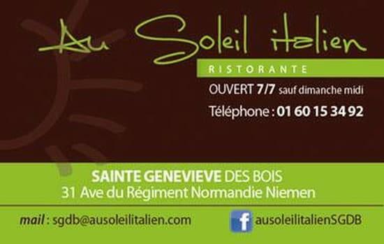 Restaurant : Au Soleil Italien  - Carte de visite -