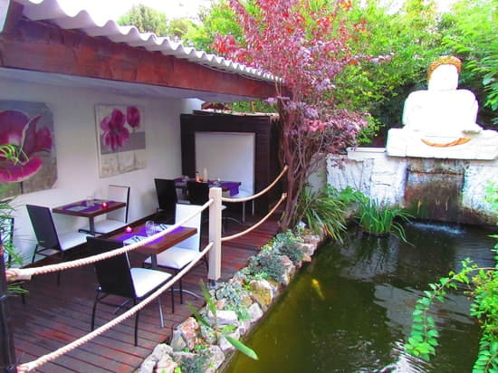 Restaurant L'Arôme - Jean-Jack Monti  - patio coin violet -
