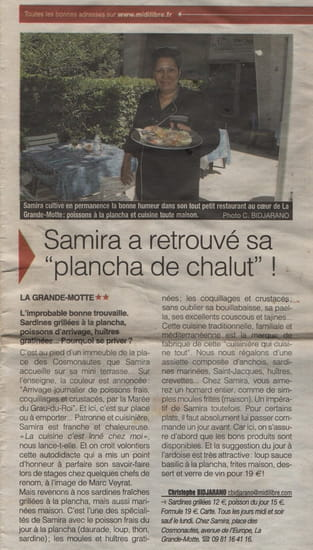 Chez Samira  - Apparition de La table chez Samira dans le Midi loisir -   © C.BIDJARANO