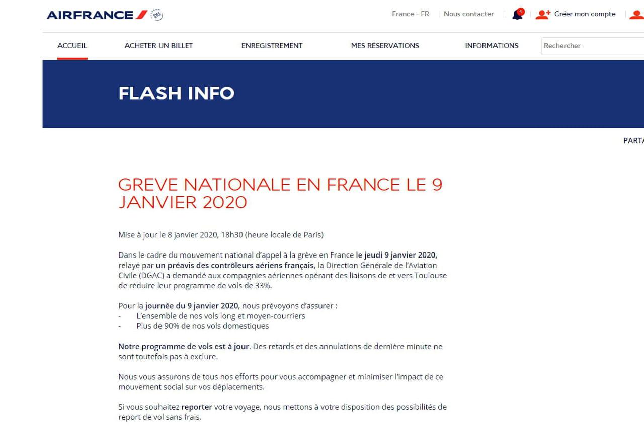 Transport aérien: grève des contrôleurs et chez Air France, quelles perturbations ce jeudi 9janvier?
