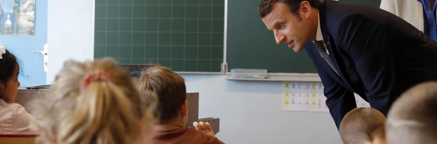 Premier jour de la rentrée:les aventures d'Emmanuel Macron à l'école