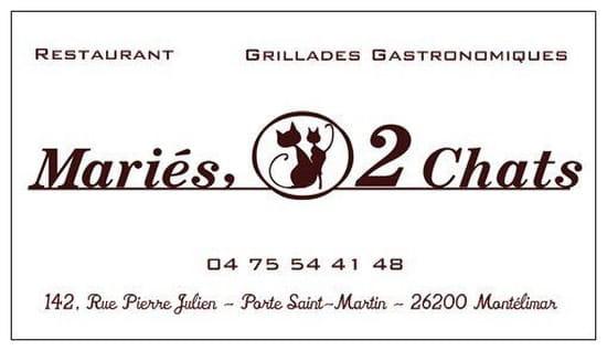 Mariés, 2 Chats  - Carte de visite recto -   © Restaurant