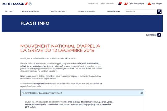 Grève Air France: des vols annulés ce 12décembre, comment se faire rembourser?