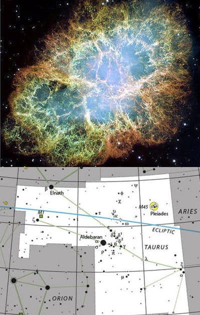 au-dessus : cliché de la nébuleuse du crabe située dans la constellation du