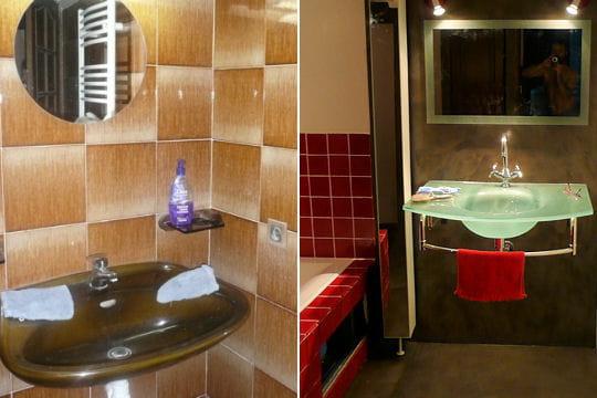 une salle de bains contemporaine. Black Bedroom Furniture Sets. Home Design Ideas