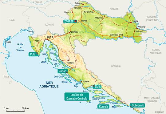 La carte de la Croatie