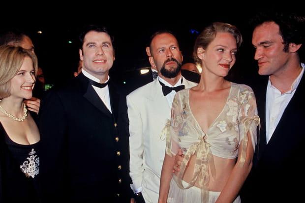 Uma Thurman, Quentin Tarantino, John Travolta et Bruce Willis à Cannes pour Pulp Fiction