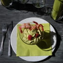 Les Arcades  - velouté de lentilles vertes du puy, espuma d'asprges vertes et brochette de crevettes roses -   © alain scher