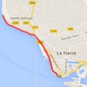 Le Havre : la plage et Sainte-Adresse (8,7km)