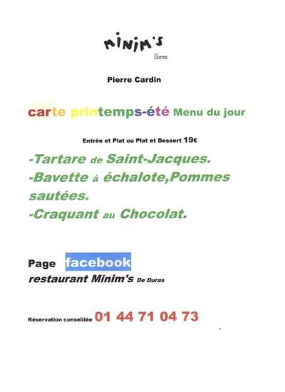 Minim's de Duras  - exemple de menu du jour -