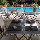 Restaurant : Auberge L'Amandin  - Terrasse en bord de piscine -   © amandin