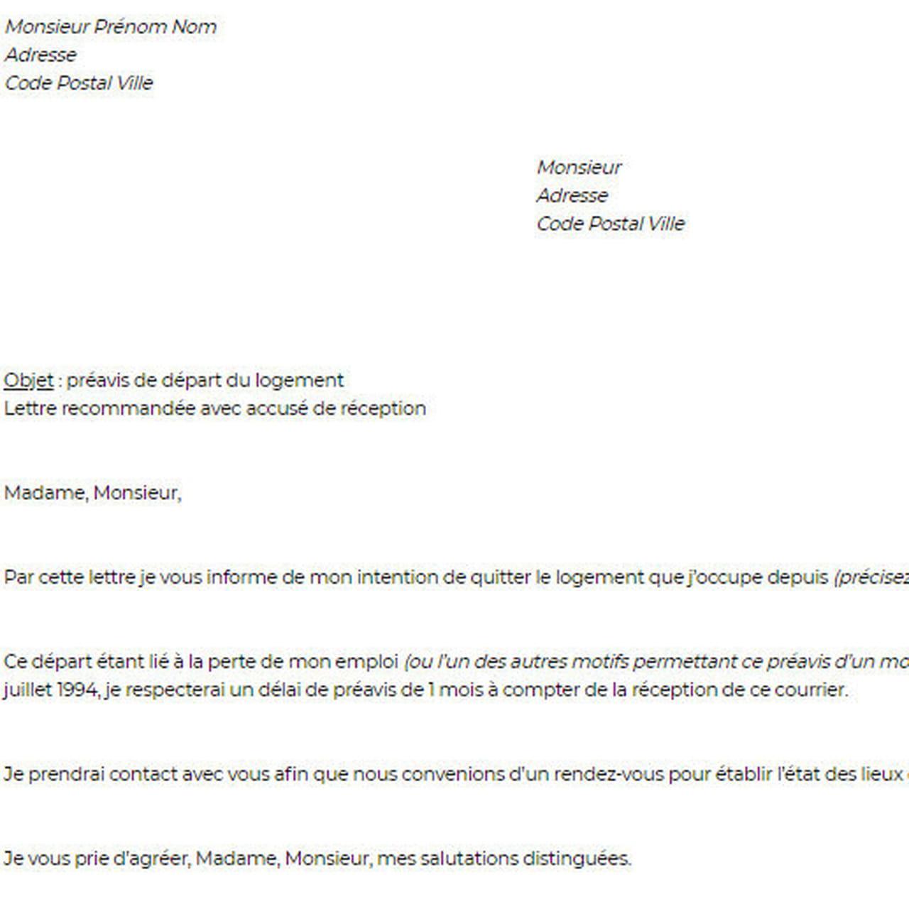 Lettre Preavis Logement Exemple
